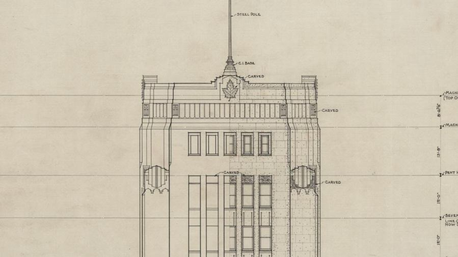 archival drawing of The Dominion Public Building, Front Elevation (1934) for a namesake project