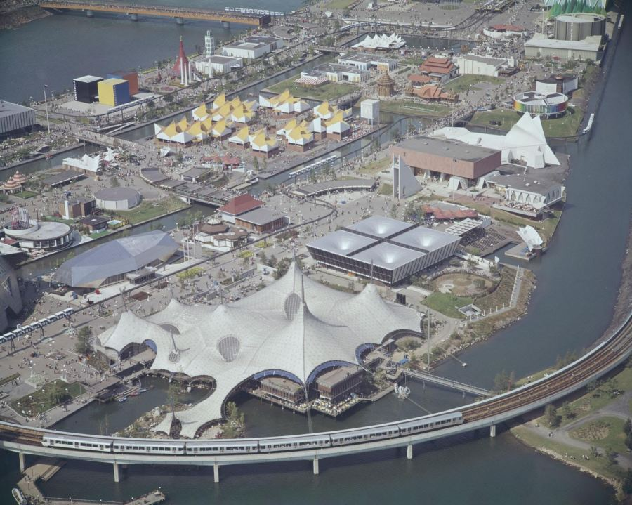 archival picture of the Expo 67 (Aerial View) used for 1967: Canada Welcomes the World